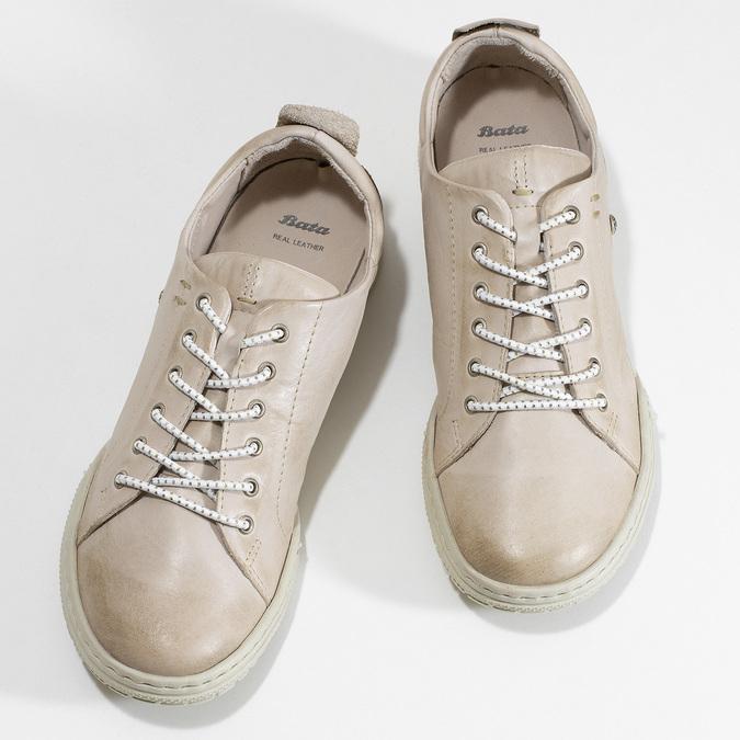 Dámské béžové kožené ležérní polobotky bata, béžová, 524-8603 - 16