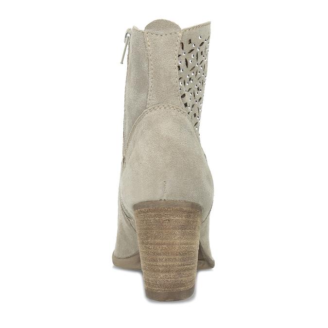 Béžové kotníčkové kozačky z broušené kůže bata, béžová, 693-8603 - 15