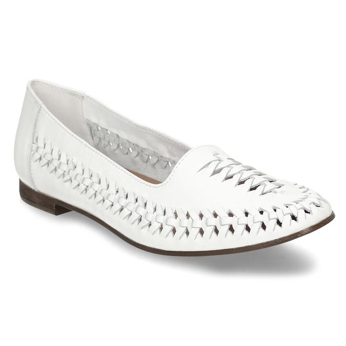 Bílé kožené dámské mokasíny s propletením bata, bílá, 524-1607 - 13