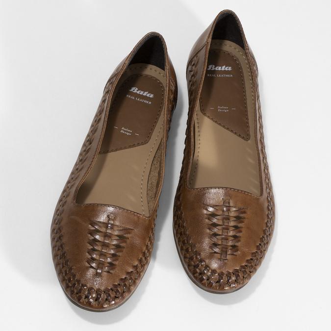 Dámské hnědé kožené mokasíny s propletením bata, hnědá, 524-4607 - 16