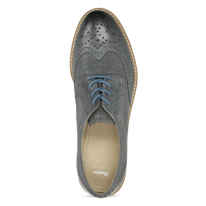 Dámské šedé kožené ležérní polobotky bata, šedá, 524-2601 - 17