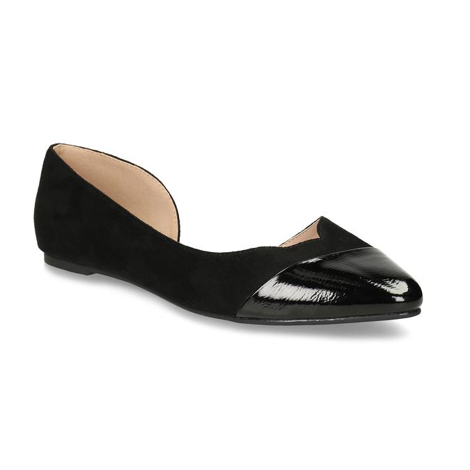 Černé dámské baleríny s vykrojením bata, černá, 529-6601 - 13