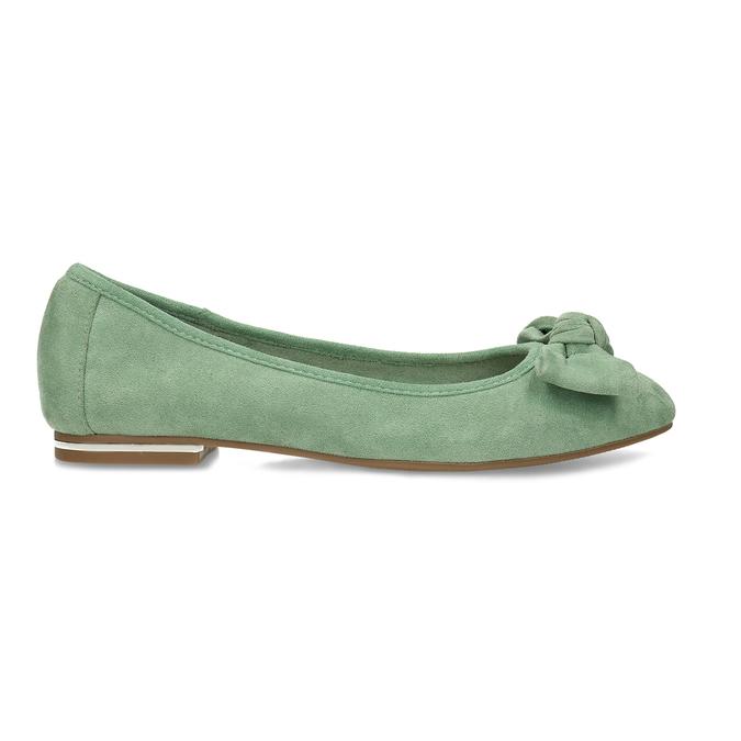 Zelené dámské baleríny s mašlí bata, zelená, 529-7602 - 19