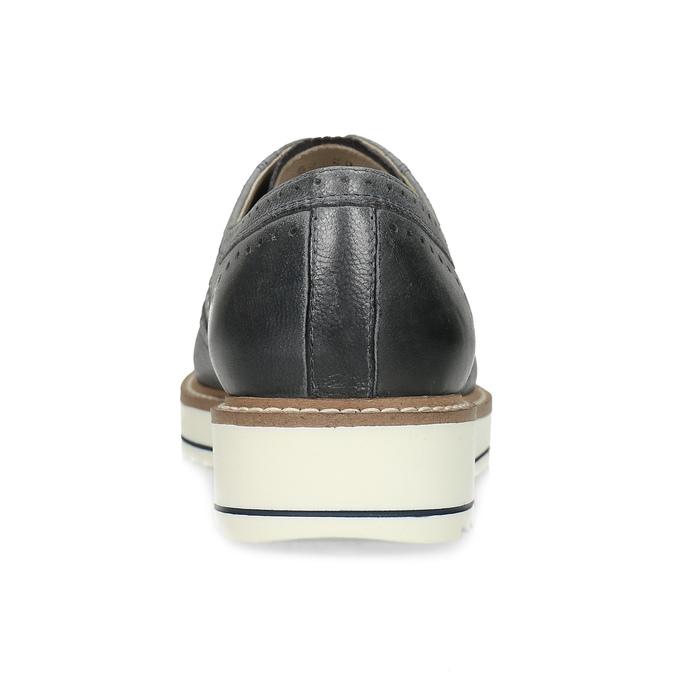 Dámské šedé kožené ležérní polobotky bata, šedá, 524-2601 - 15