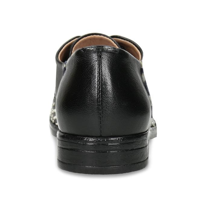 Dámské kožené černé polobotky se cvoky bata, černá, 526-6608 - 15
