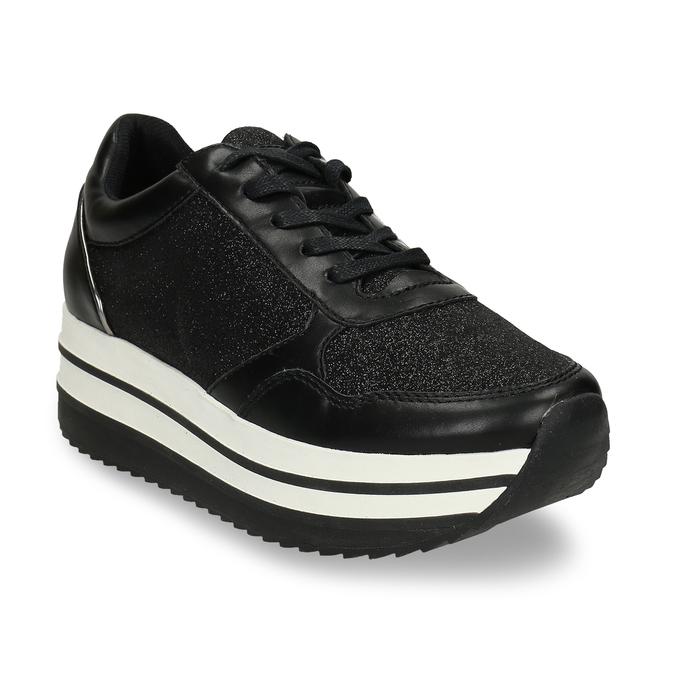 Černé tenisky na flatformě se třpytkami bata-light, černá, 541-6614 - 13