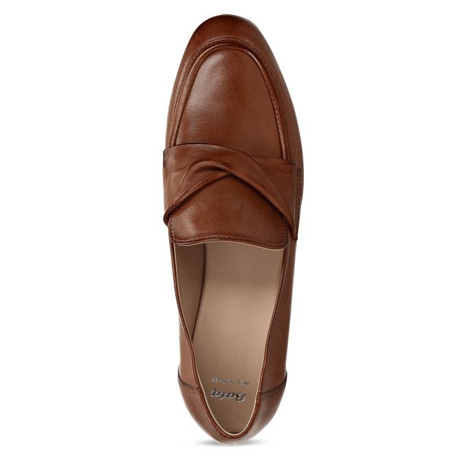 Dámské kožené hnědé mokasíny bata, hnědá, 516-4606 - 17