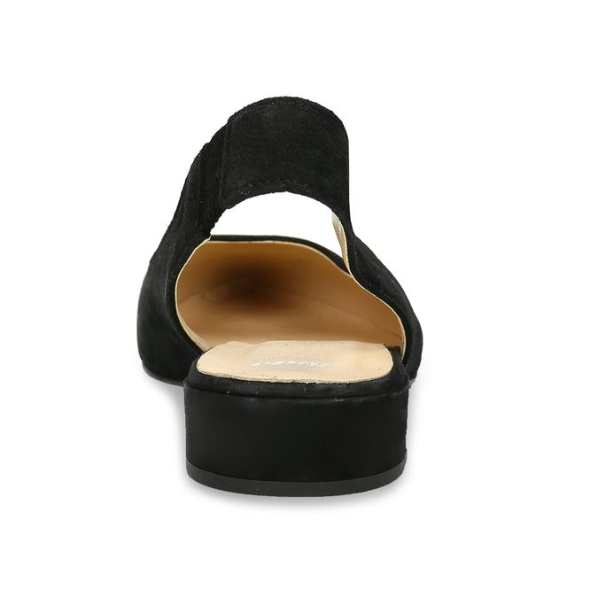 Kožené černé lodičky na nízkém podpatku s páskem bata, černá, 523-6607 - 15