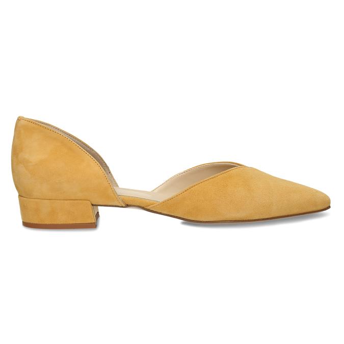 Kožené žluté lodičky na nízkém podpatku bata, žlutá, 523-8605 - 19