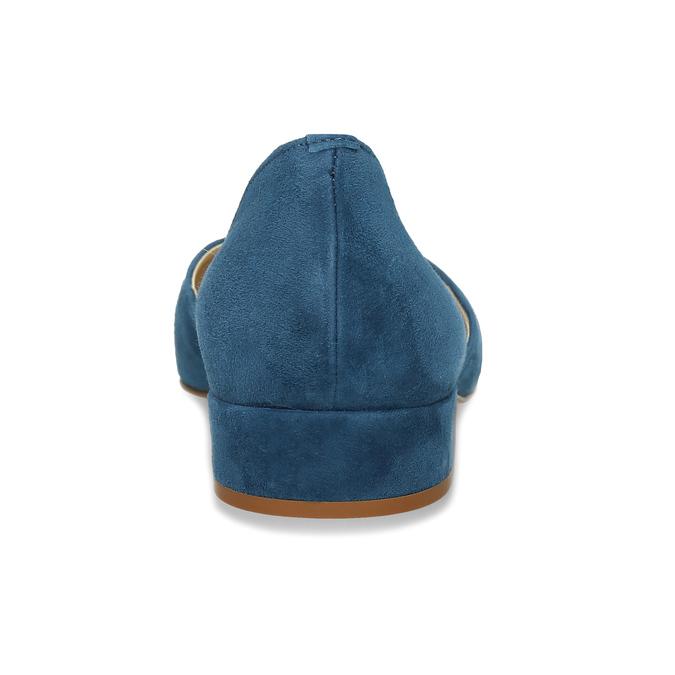 Kožené modré lodičky na nízkém podpatku bata, modrá, 523-9605 - 15