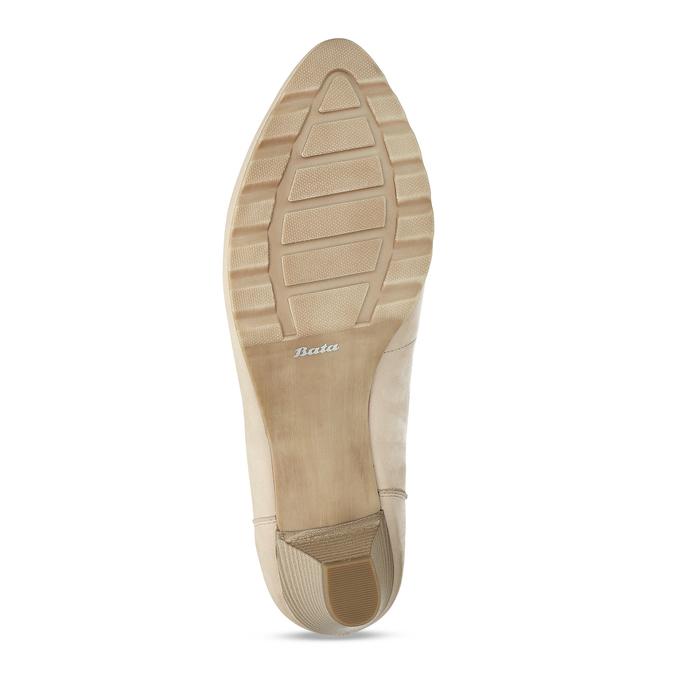 Kožené dámské béžové lodičky na nízkém podpatku bata, béžová, 626-8603 - 18