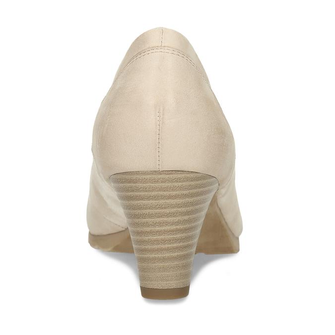 Kožené dámské béžové lodičky na nízkém podpatku bata, béžová, 626-8603 - 15