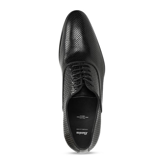 Pánské kožené černé polobotky bata, černá, 824-6676 - 17