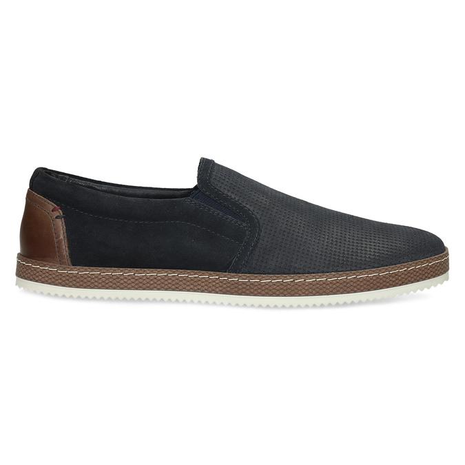 Modrá pánská kožená Slip-on obuv bata, modrá, 833-9608 - 19