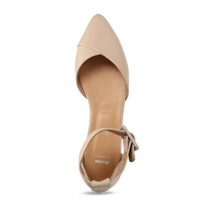 Béžové kožené baleríny s páskem bata, béžová, 524-8624 - 17