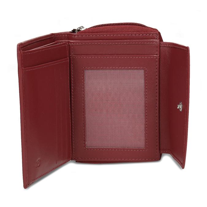 Červená dámská kožená peněženka bata, červená, 944-5634 - 15