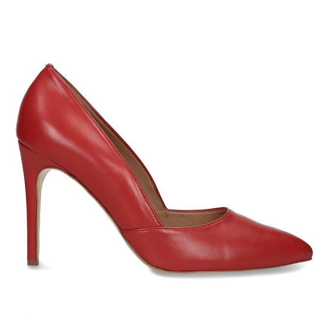 Červené kožené lodičky na jehlovém podpatku bata, červená, 724-5606 - 19