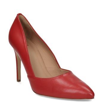 Červené kožené lodičky na jehlovém podpatku bata, červená, 724-5606 - 13