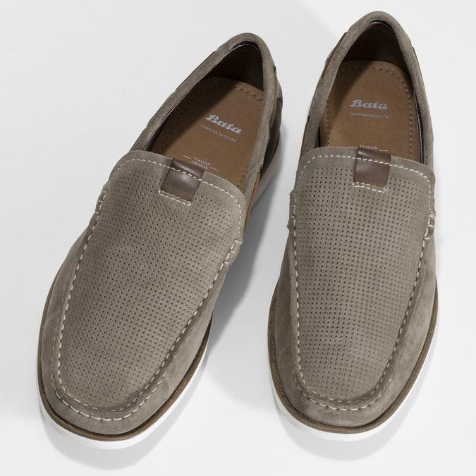 Béžové pánské mokasíny z broušené kůže bata, béžová, 853-8613 - 16