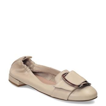 Dámské kožené béžové baleríny se sponou bata, béžová, 524-8601 - 13