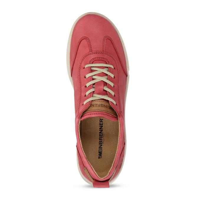 Dámské kožené červené tenisky městského stylu weinbrenner, červená, 544-5611 - 17
