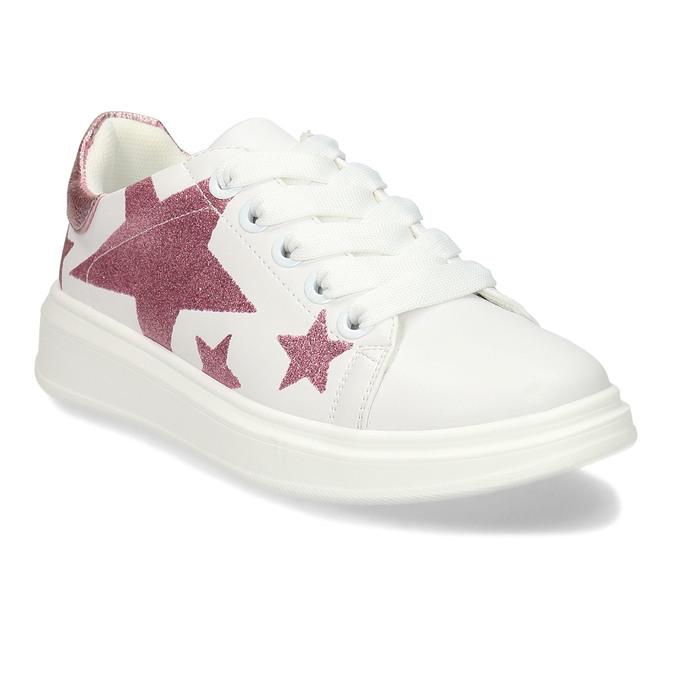 Bílé dívčí tenisky s růžovými hvězdami mini-b, bílá, 321-1646 - 13
