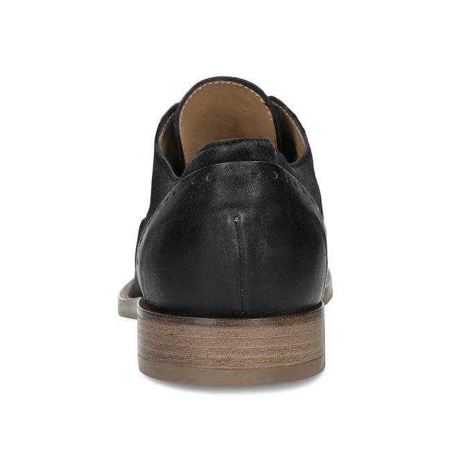 Černé pánské kožené polobotky bez šněrování bata, černá, 826-6602 - 15