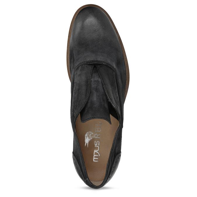 Černé pánské kožené polobotky bez šněrování bata, černá, 826-6602 - 17