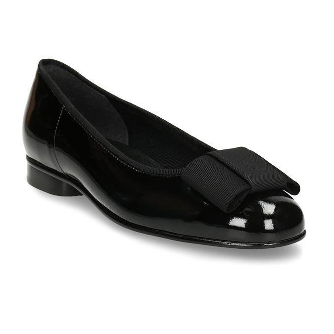 Černé dámské lakované kožené baleríny s mašlí gabor, černá, 528-6108 - 13