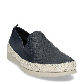 Tmavě modrá kožená dámská slip-on obuv comfit, modrá, 524-9604 - 13