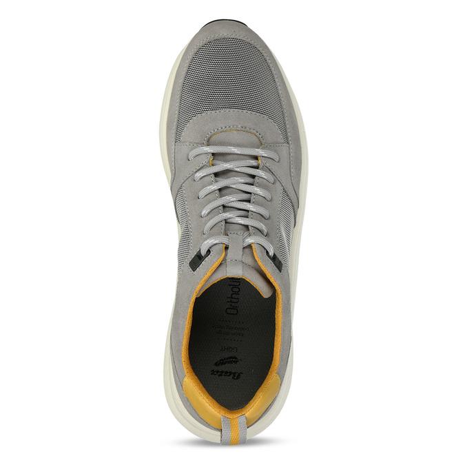 Šedé pánské tenisky z broušené kůže bata-light, šedá, 843-2638 - 17