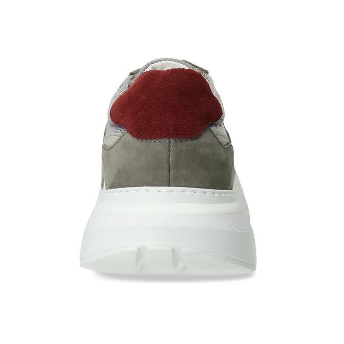 Kožené šedé Chunky tenisky s červenými detaily bata, šedá, 846-2670 - 15