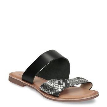 Černé kožené dámské pantofle s hadím vzorem bata, černá, 564-6620 - 13