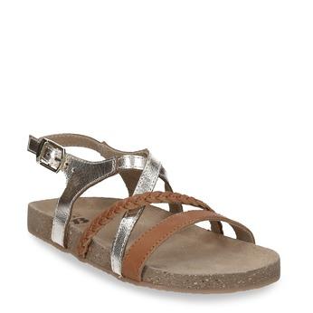 Kožené hnědé sandály se zlatými pásky mini-b, hnědá, 266-4605 - 13