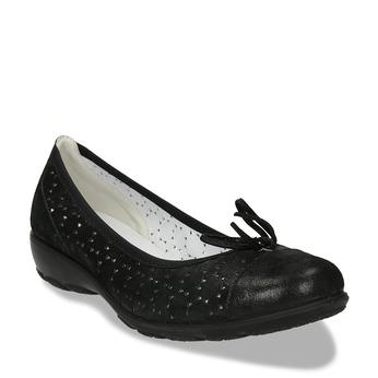 Černé kožené baleríny s perforací a mašličkou comfit, černá, 526-6607 - 13