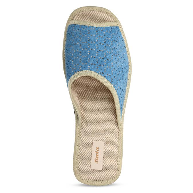 Modré dámské domácí pantofle bata, modrá, 679-9607 - 17