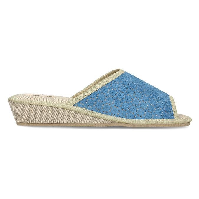 Modré dámské domácí pantofle bata, modrá, 679-9607 - 19