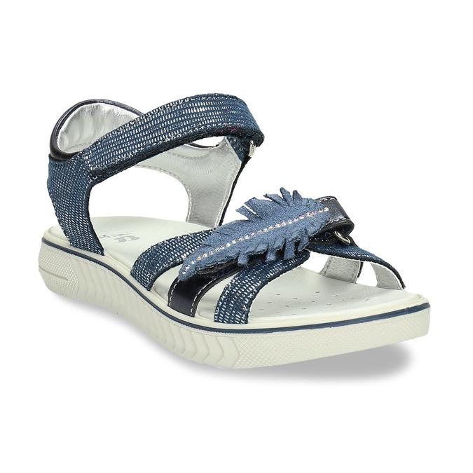 Modré dívčí sandály s pírkem na špičce mini-b, modrá, 261-9601 - 13