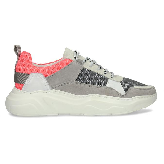 Šedé kožené tenisky s perforací bata, šedá, 543-2601 - 19