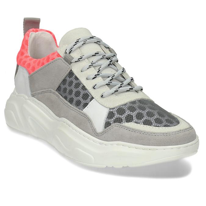 Šedé kožené tenisky s perforací bata, šedá, 543-2601 - 13