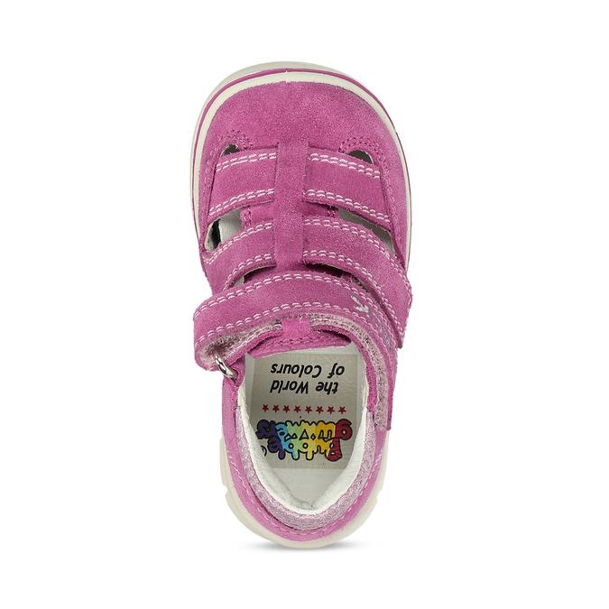 Dětské růžové sandály z broušené kůže bubblegummers, růžová, 163-5600 - 17