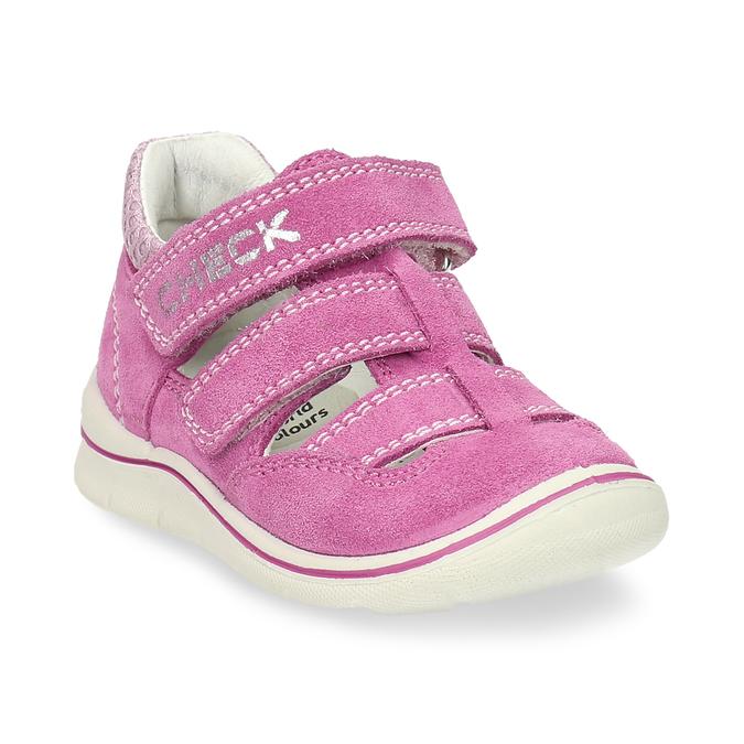 Dětské růžové sandály z broušené kůže bubblegummers, růžová, 163-5600 - 13