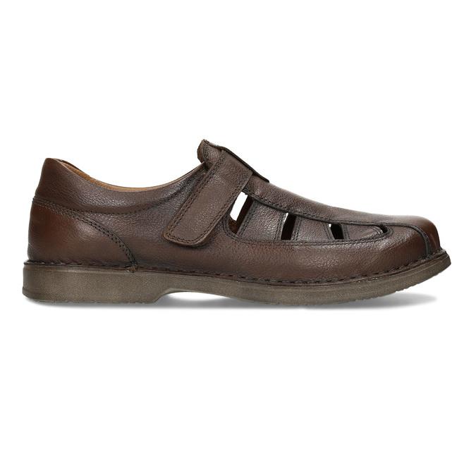 Hnědé kožené letní sandály pánské comfit, hnědá, 856-4761 - 19