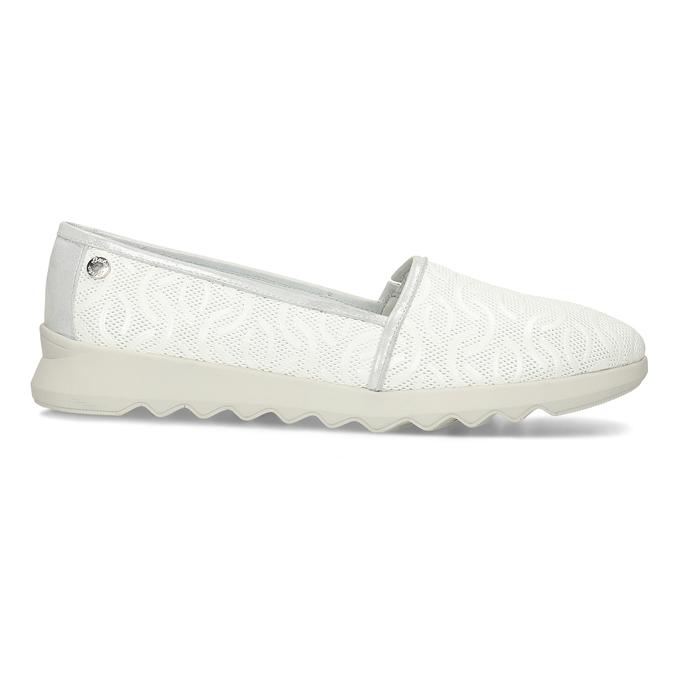 Bílá dámská kožená slip-on obuv flexible, bílá, 524-1621 - 19