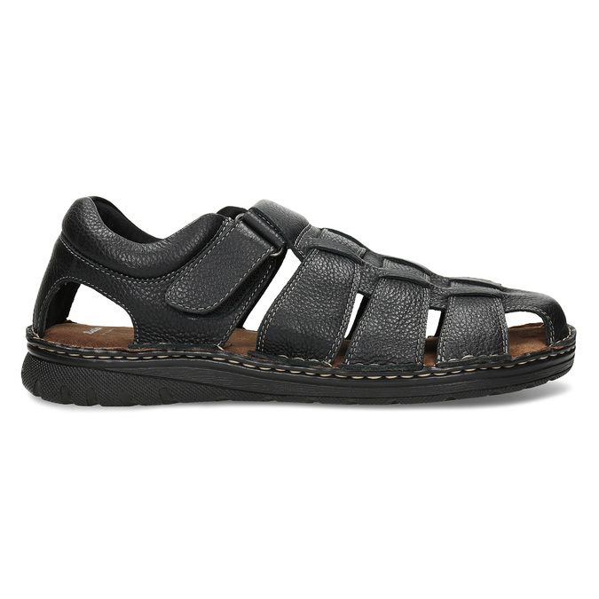 Černé pánské kožené sandále se zavřenou špičkou bata, černá, 864-6633 - 19