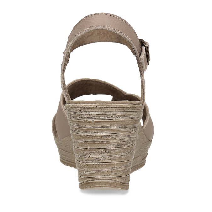 Dámské kožené sandály na klínovém podpatku bata, béžová, 664-8608 - 15