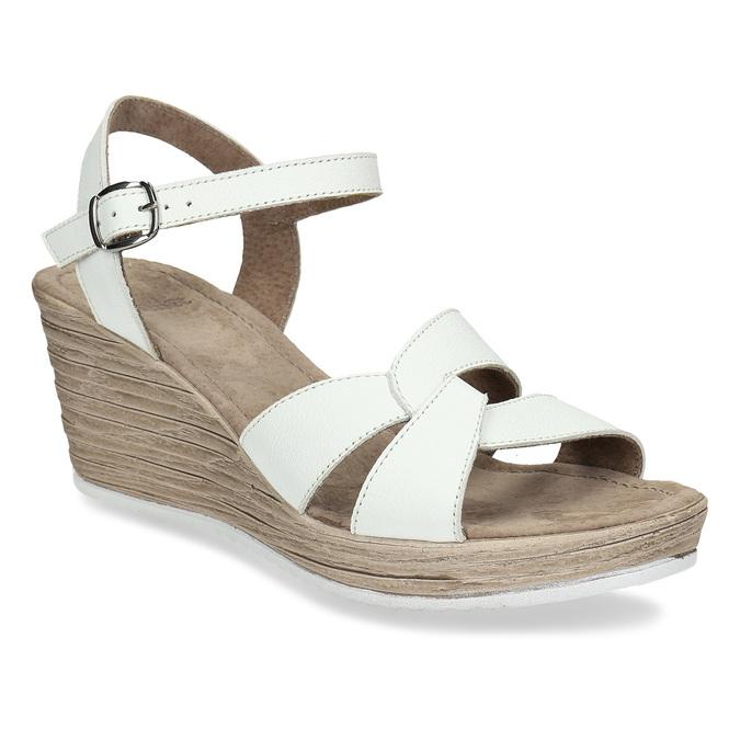 Kožené sandály v bílé barvě na klínovém podpadku bata, bílá, 664-1618 - 13