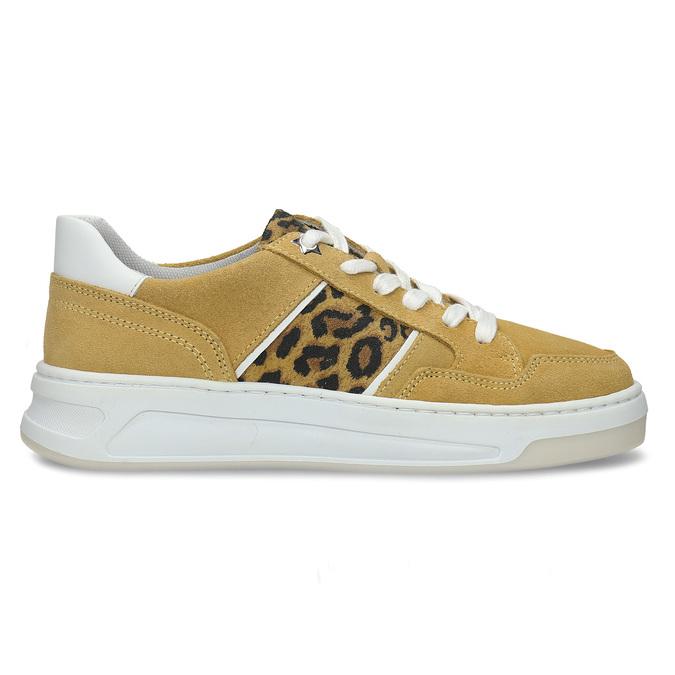 Žluté dívčí kožené tenisky s leopardím vzorem bullboxer, žlutá, 423-8602 - 19