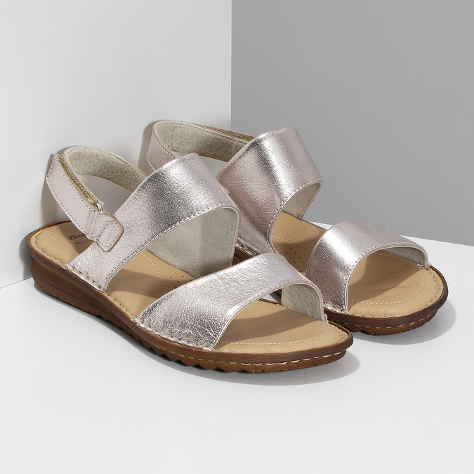 Zlaté dámské kožené sandály comfit, zlatá, 565-8601 - 26