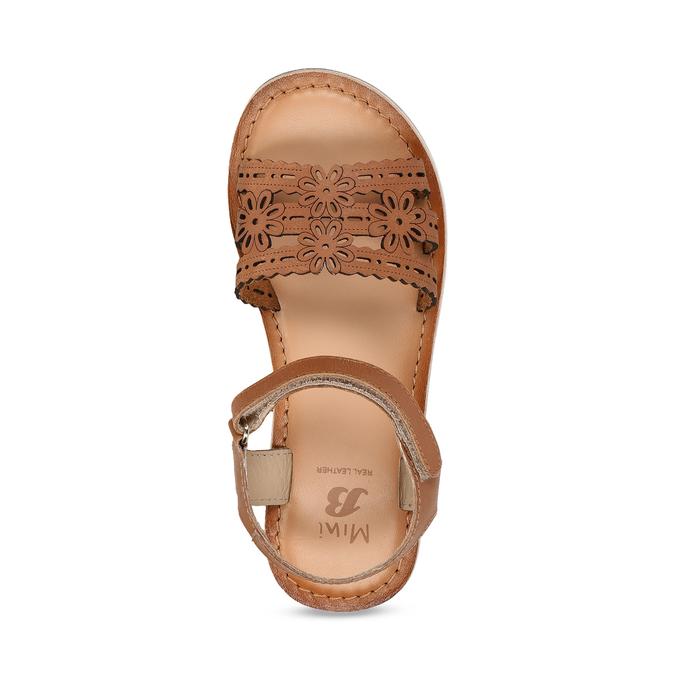 Kožené hnědé dětské sandály s perforací mini-b, hnědá, 466-4619 - 17